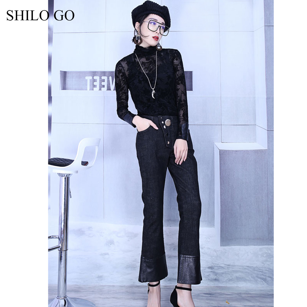 SHILO GO Leather Pants Womens Spring fashion sheepskin genuine leather Pants high waist metal button patchwork small flare jeans - 6