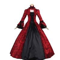 18th Century Retro Red and black Square Collar Long Flare Sleeve Gothic Victorian Period Party Dress Ball Gowns Theater Costumes