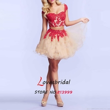 Red / Black Two Piece Vestidos De Fiesta 2015 Sweetheart Cap Sleeve Cocktail Dresses Mini Backless Beaded Party Gown ZP221