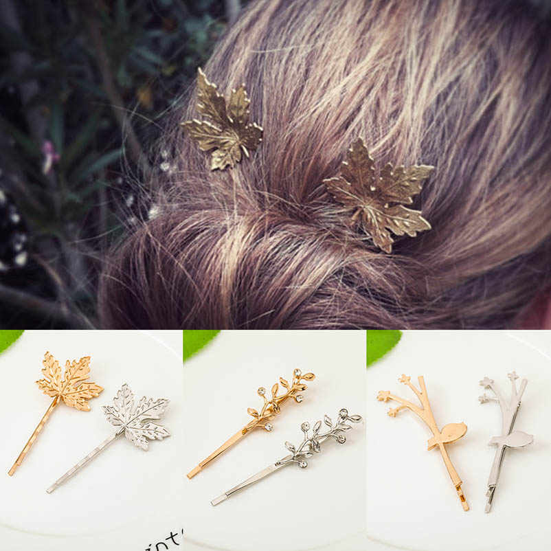 Maple Leaf Branch Golden Silver Hair Clips & Pins Bobby Pins Headwear Hair Accessories for Women