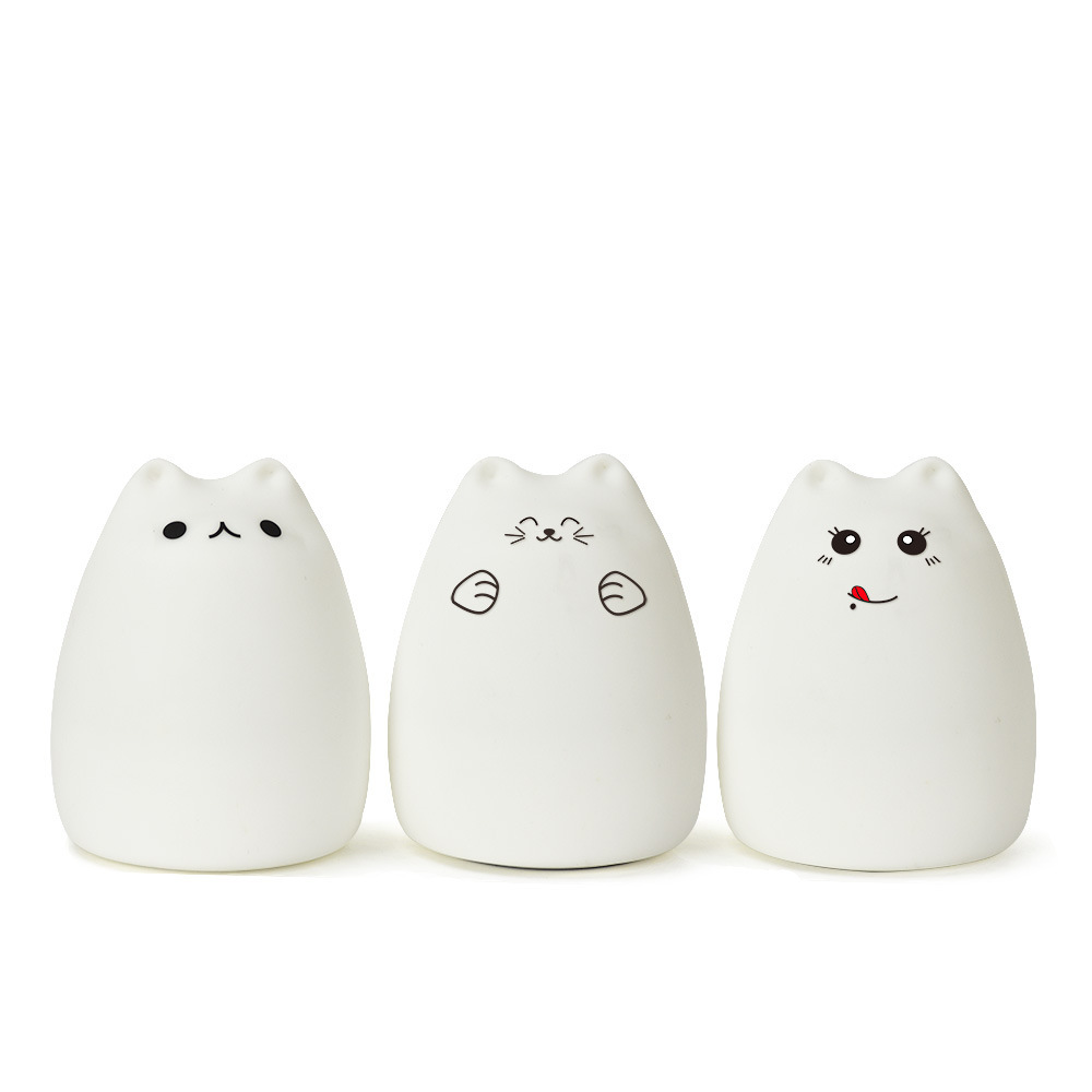 Cartoon Cat LED Night Light Silicone Luminaria Touch Tap Control Nursery Night light For Baby Kids Reading Sleeping Gift