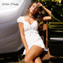 WildPinky Summer Women Lace Up Dress Embroidery Sexy Backless V-neck Beach Dresses Fashion White Casual Cotton Vestidos