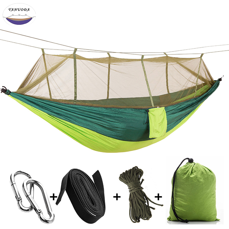 High Strength Double Person Folding Hammock Portable Camping Furniture Outdoor Travel Kits Stit Mixed Colors