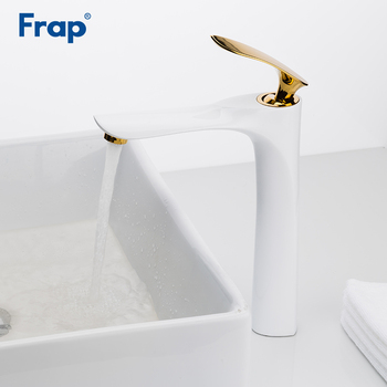 Frap new white golden luxury basin sink faucet water mixer tap bath faucets brass bathroom wash basin taps toneira Y10099