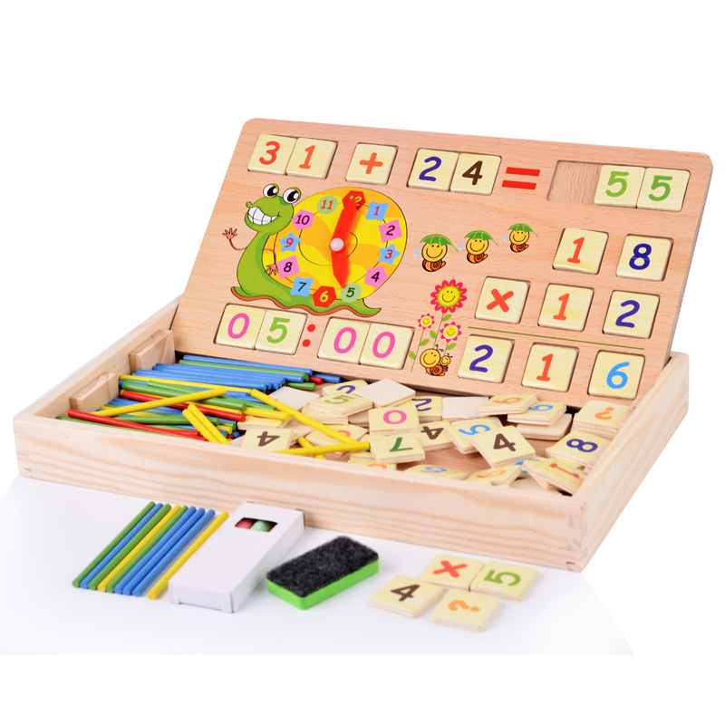 YH MRB Store Baby Toys Wooden Toy Baby Classic Mathematic with 100PCS Sticks  70PCS Number card  Wood Box Early educational Montessori