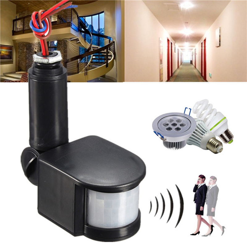 PIR Infrared Automatic Motion Sensor Detector 110-220V IP44 Wall Lamp Switch White Black ледянка prosperplast speed green зеленый istl g800