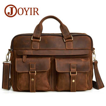 "JOYIR Men Briefcase Real Crazy Horse Leather Messenger 15"" Laptop Bag Business Briefcase Bags for Document Men Shoulder Handbags - DISCOUNT ITEM  50 OFF Luggage & Bags"