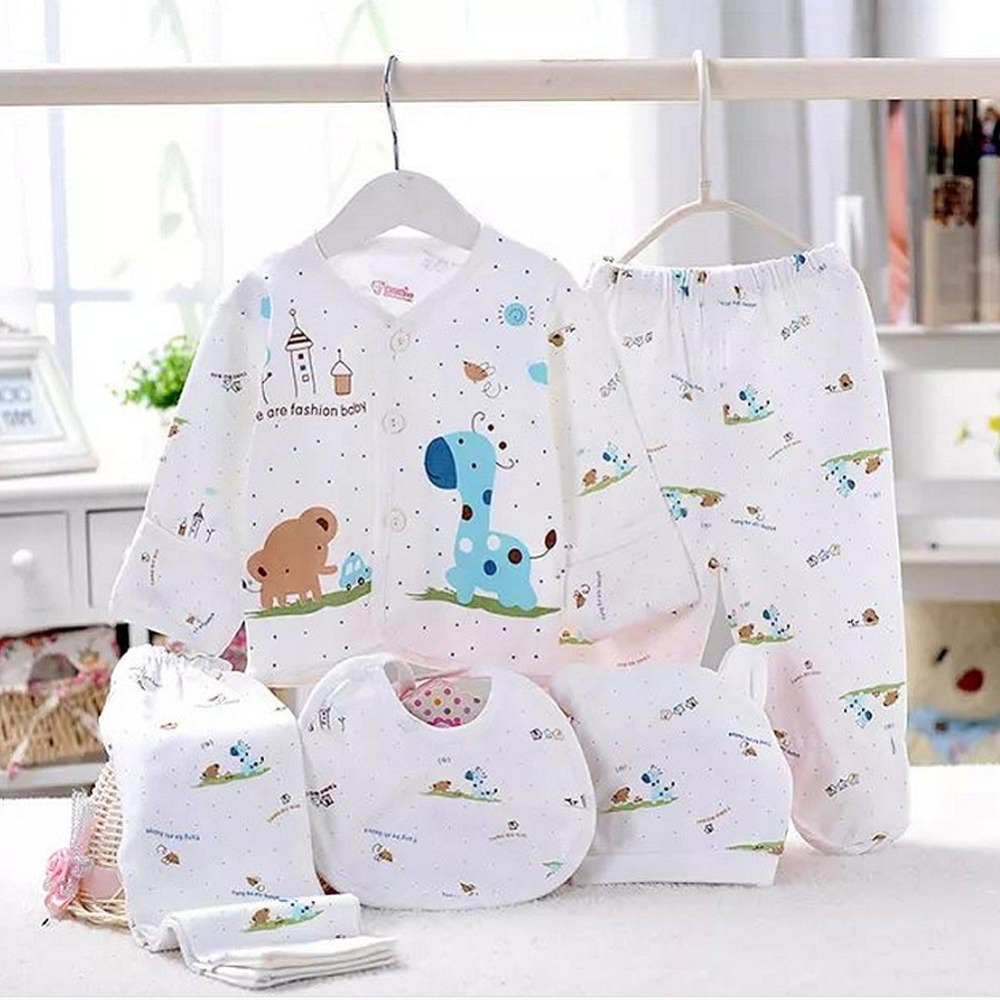 5pc Cotton Newborn Baby Clothing Sets Cartoon Design Boy Girls Clothes Long Sleeve Tops +Long Pants +Hat +Bibs Roupa Infantil