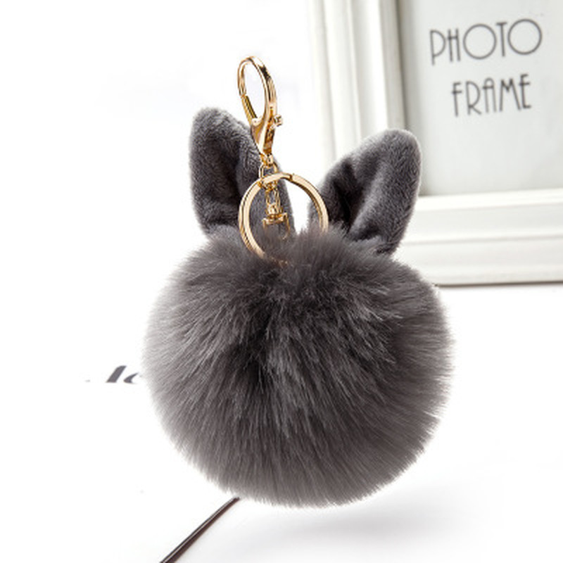 iMucci New Fluffy Bunny Ear Keychain Rabbit Key Chain Fur Woman Bag Charms Keyring Pom Pom Car Pendant