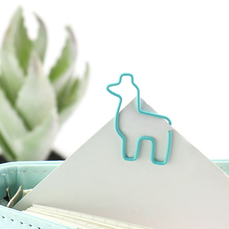 TUTU Creative cute alpaca metal office school paper clips set stationery fine bookmark clips set 20 pcs lot H0236 in Clips from Office School Supplies