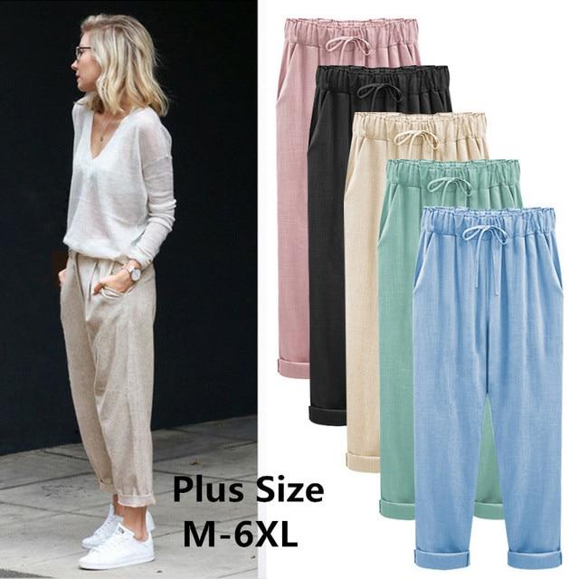 2018 Wide Leg Pants Harem Pant Female Trousers Casual Spring Summer Loose Cotton Linen Overalls Pants Plus Size  Candy Color