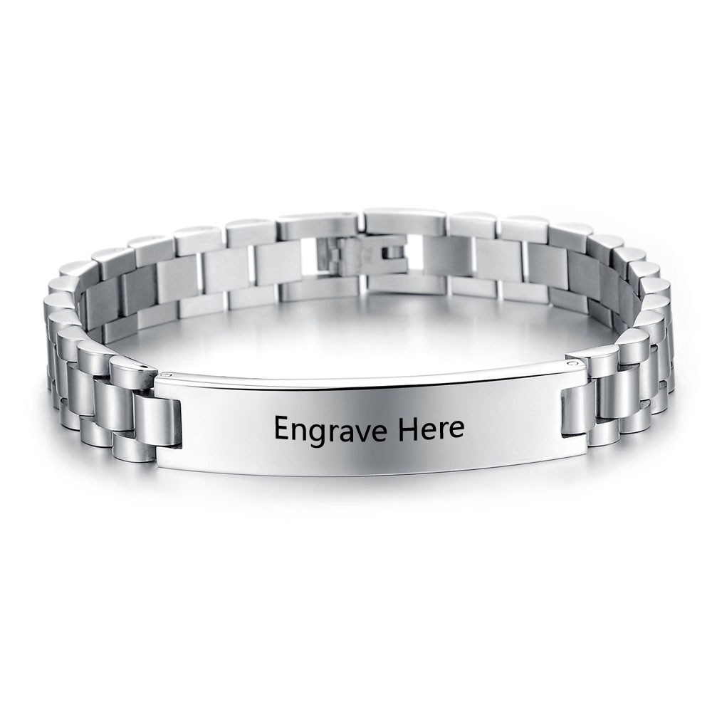 Personalized Engrave Name Bracelet Fashion Silver Men Stainless Steel Bracelets Bangles For Women Ba101446 In Chain Link From