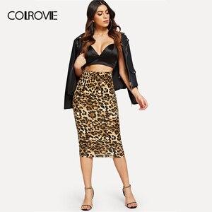 Image 4 - Женская длинная юбка карандаш COLROVIE, облегающая винтажная юбка карандаш с леопардовым принтом и высокой талией, зима 2018