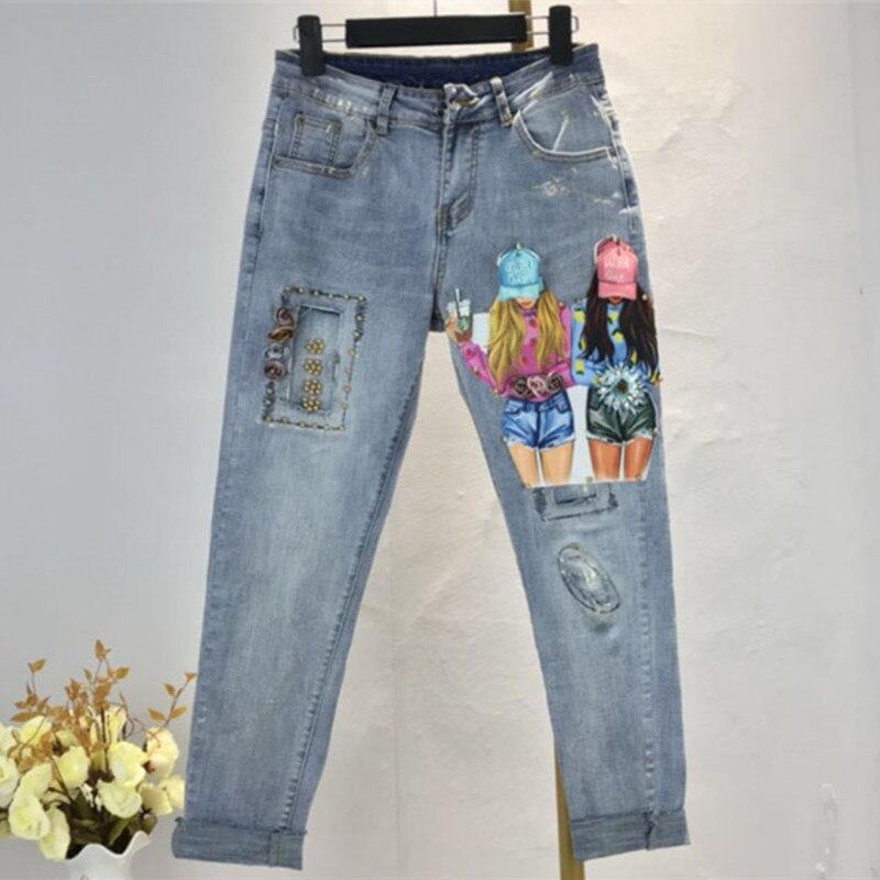 Stretch Denim Woman Ripped Jeans Cool Hole Pattern 2019 Flower Beads Skinny Retro Denim Pants Pencil