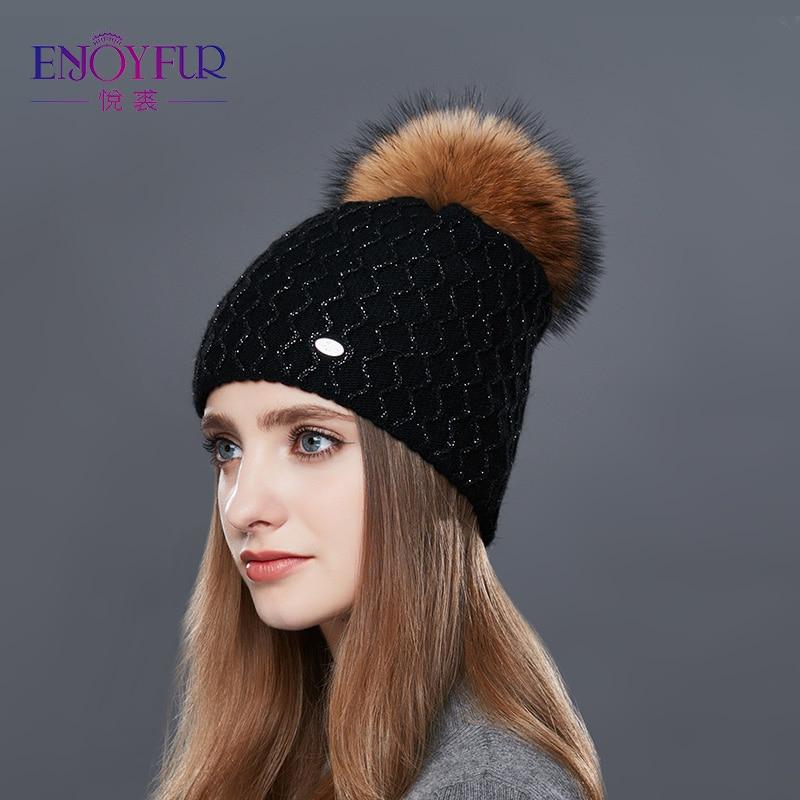 ENJOYFUR Real Fur Pompom Hat Women Cashmere Knitted Winter Hats For Girls Thick Wool Female   Skullies     Beanies   Diamond Lattice Cap
