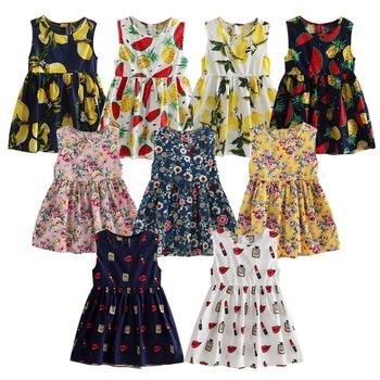 Kids Girls Summer Dress Girls O-neck Sleeveless Floral Print A-line Dresses Girls Cute Princess Dress Children Clothes