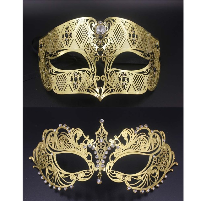 Gold Silver Metal Party Mask Men Women Crystal Filigree Venetian Couple Mask  Set Masquerade Masks Set Prom Wedding Mask 6dd06bc26845