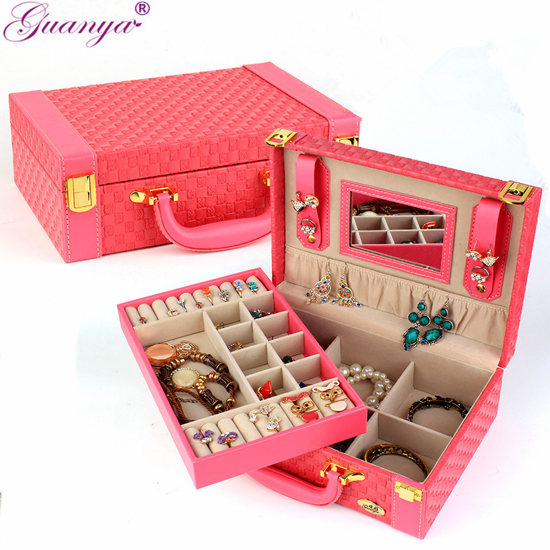 guanya Fashion Style Leather Jewelry Box Sweet Gift Accessories Display Organizer Carrying Case Casket Boxes Gifts for Women 113