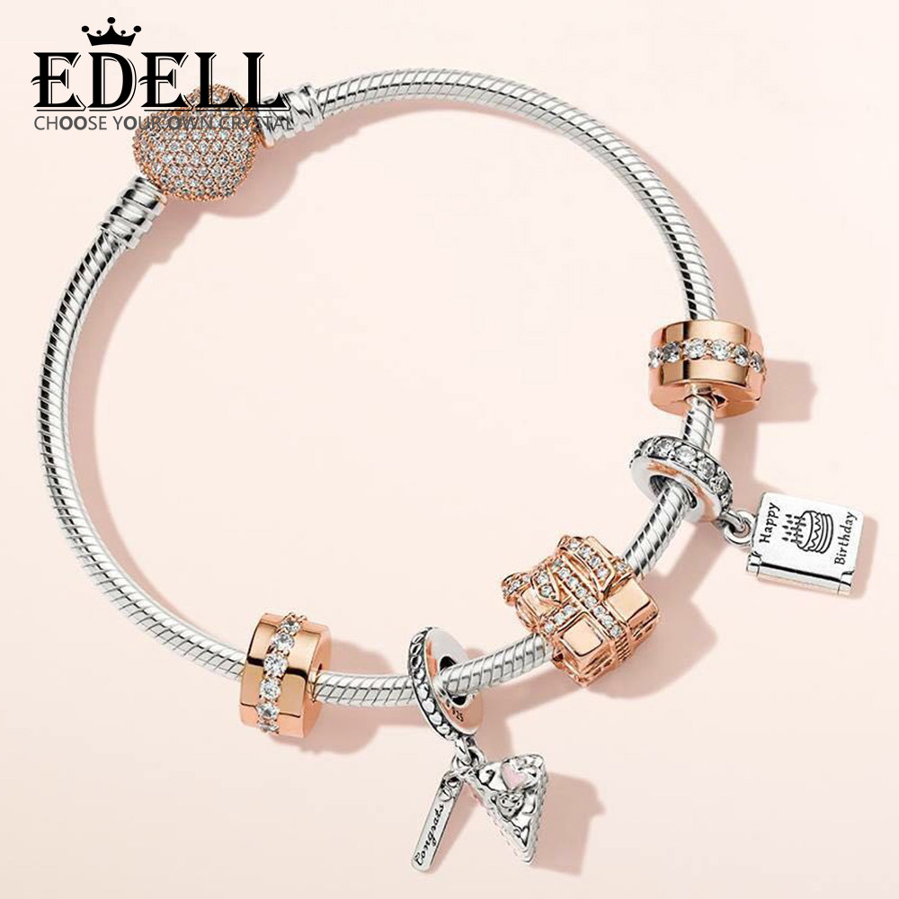 EDELL 100% 925 Sterling Silver ROSE SPARKLING SURPRISE CHARM Birthday Wishes Card CELEBRATION CAKE HANGING CHARM Bracelet SetEDELL 100% 925 Sterling Silver ROSE SPARKLING SURPRISE CHARM Birthday Wishes Card CELEBRATION CAKE HANGING CHARM Bracelet Set