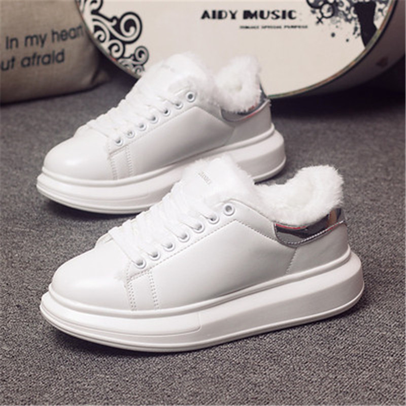 D KNIGHT Brand Women Casual White Shoes 2019 Spring Winter Women Flats Platform Shoes Fashion Lace-Up Women Sneakers Big Size 44 (2)