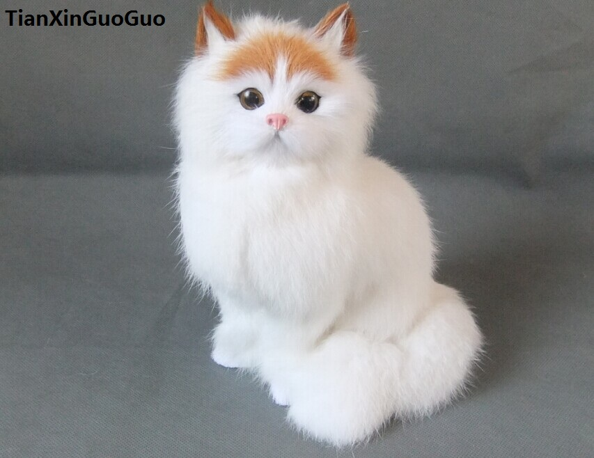 simulation cat hard model polyethylene&furs large 20x15cm white cat with yellow head,decoration toy s1790 цены онлайн