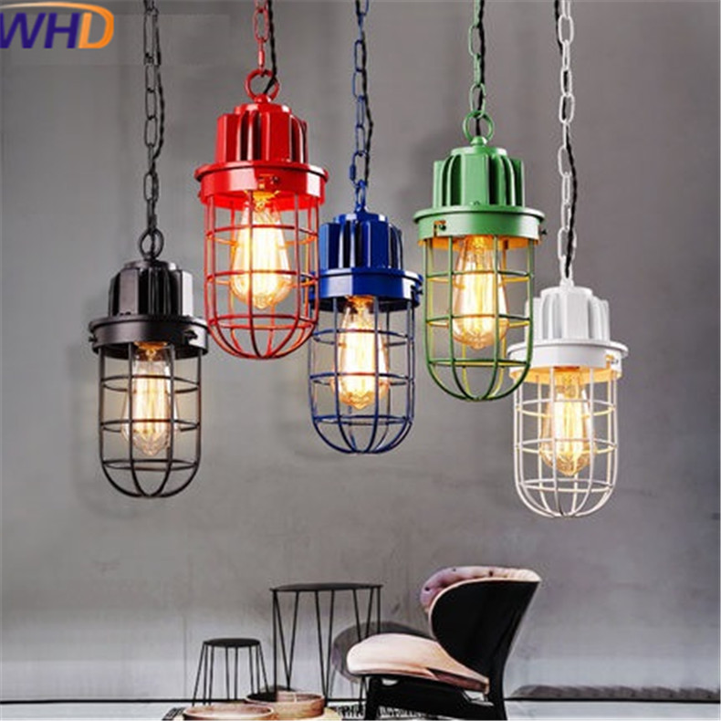 IWHD American Single Head Hanging Lamp Creative Retro Iron Industrial Pendant Lights Simple Indoor lighting Lamps Edison Bulb iwhd loft style creative retro wheels droplight edison industrial vintage pendant light fixtures iron led hanging lamp lighting