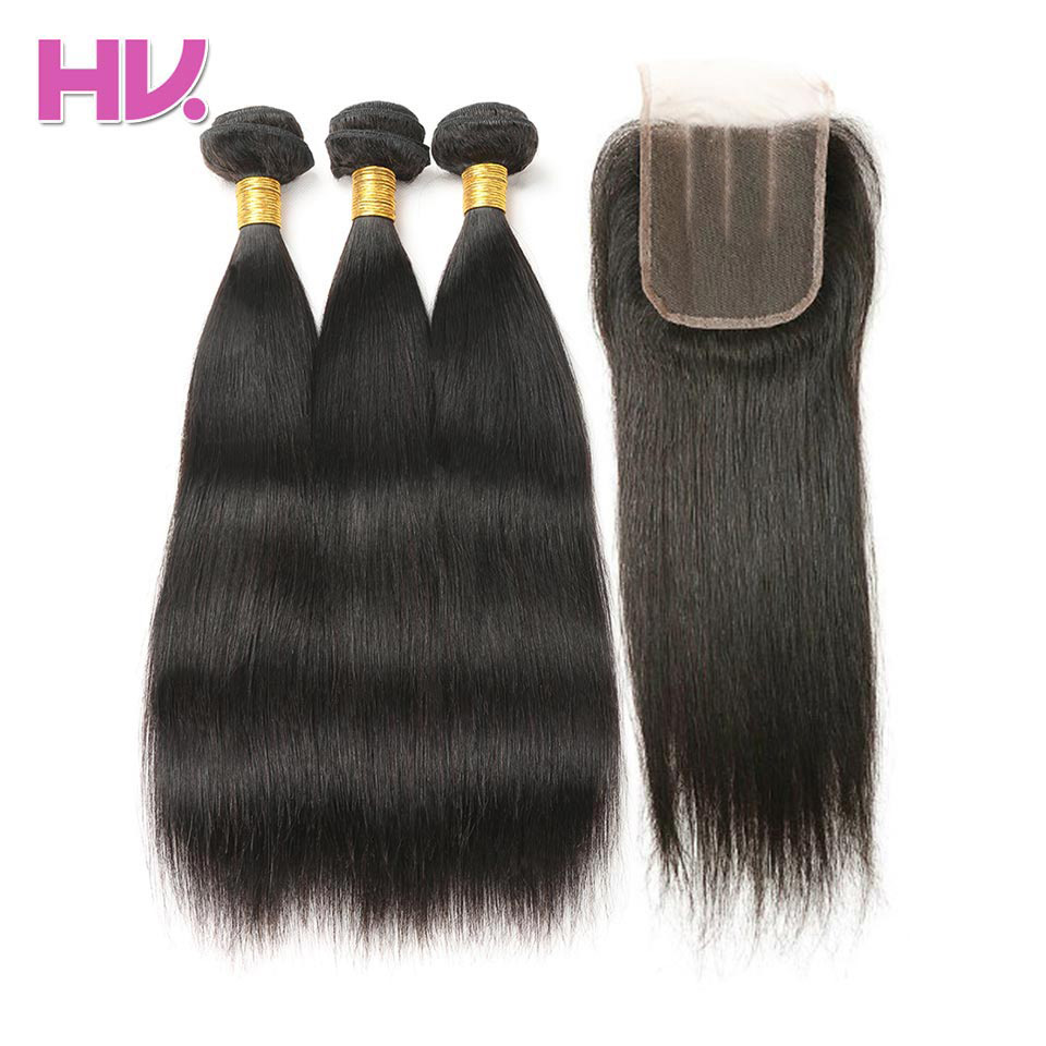 Hair Villa Brazilian Straight Hair Non Remy Hair 2/3 Bundles Human - Menneskehår (sort)