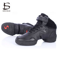 White Black Red Genuine Leather Increased Modern Dance Shoes Hight Cut Shoes Jazz Shoes Height Increasing
