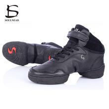 bc6baa3a Blanco negro rojo zapatillas de deporte para las mujeres y los hombres  Salsa moderna zapatos de baile de Jazz cuero genuino con .
