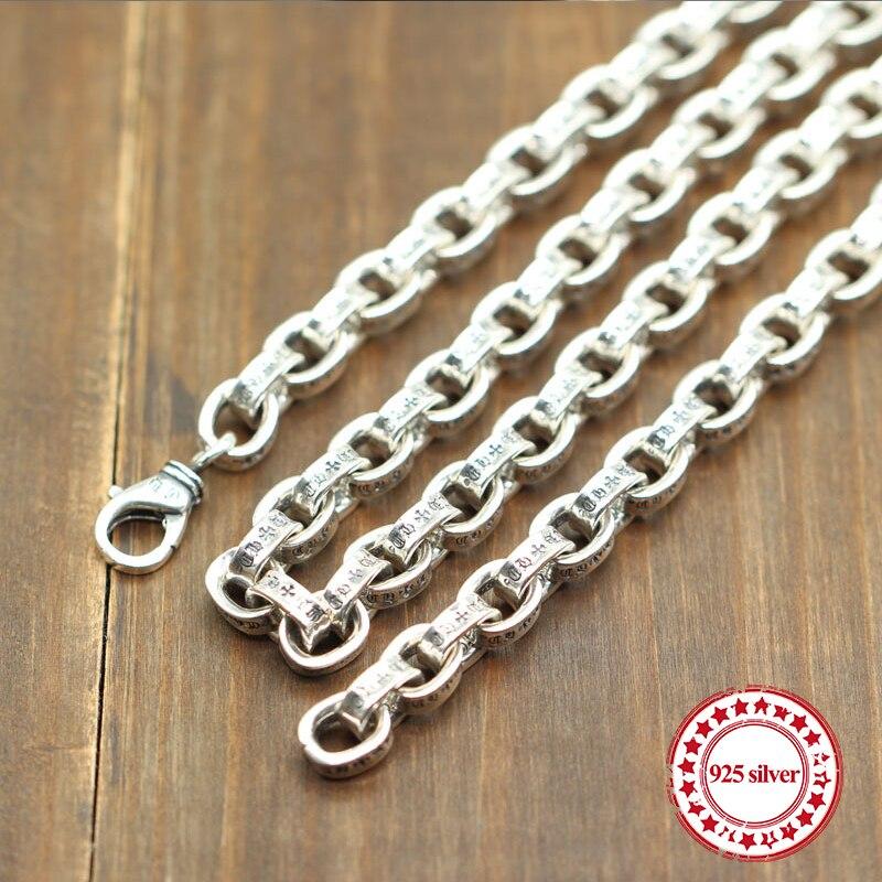 S925 sterling collier en argent corde chaîne chandail chaîne simple lettres classique accessoires long dominateur couple envoyer un cadeau