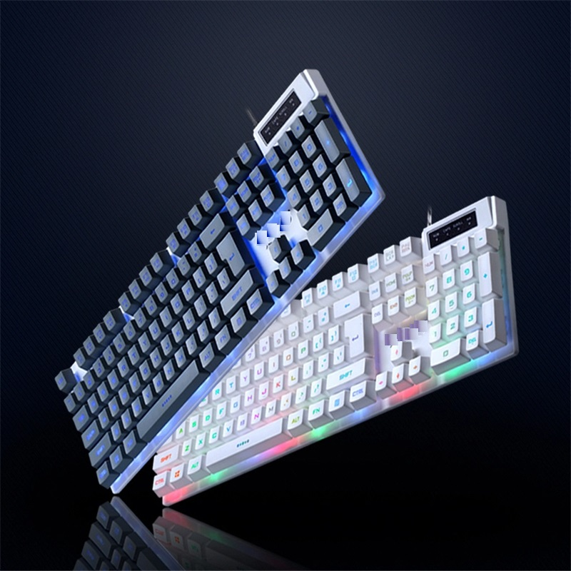 K1 Seven Color Backlit Rainbow Gaming Keyboard ABS Keycaps LED Multimedia Computer Wired USB Keyboard for Game