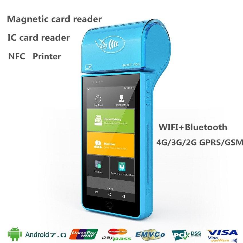 Ручной оплаты терминал POS с IC магнитных карт NFC сканера штриховых кодов Android 7,0