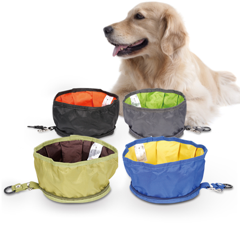foldable dog water bowl food storage bag pet snack tray drink