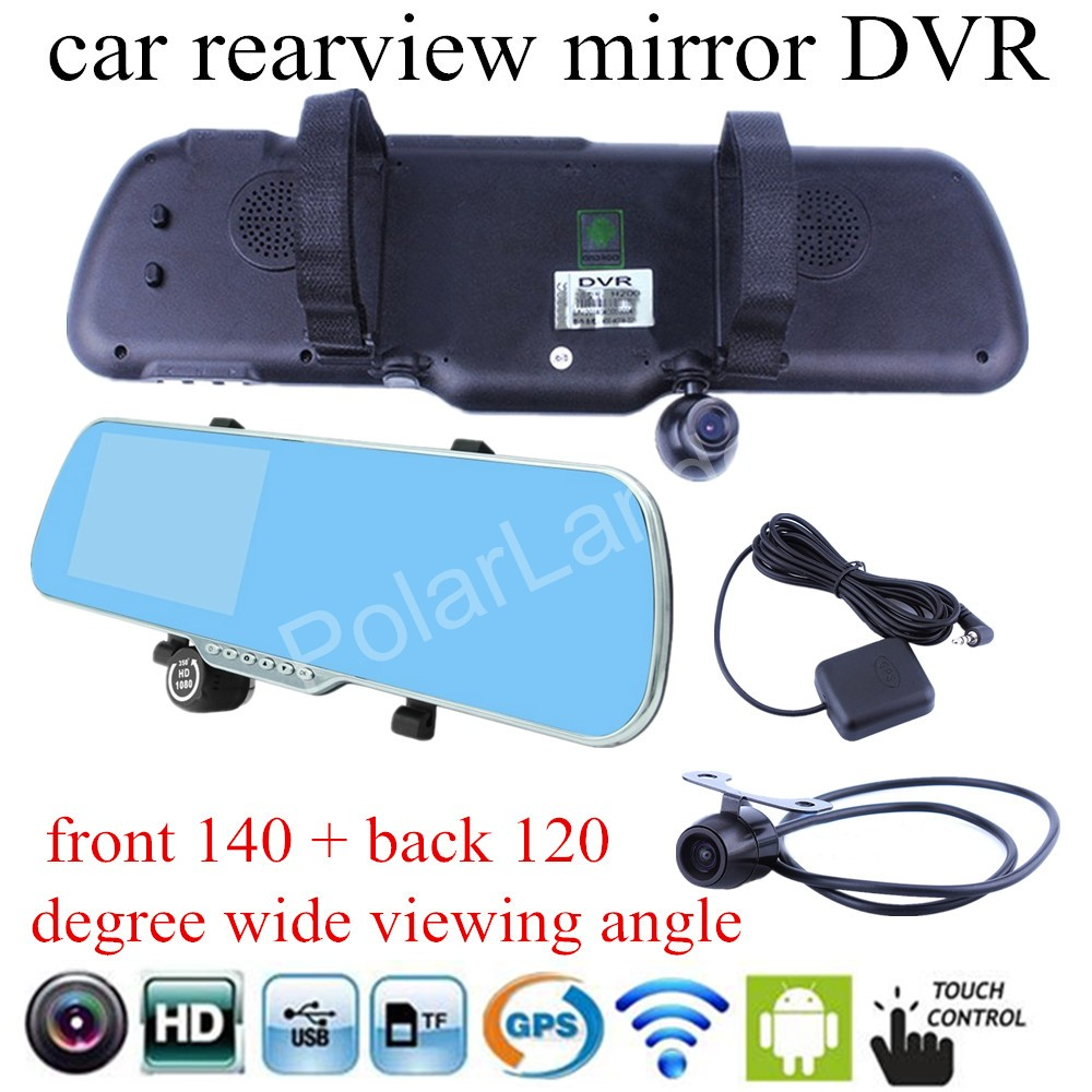 for android WIFI GPS navigation Car DVR mirror camera 5 inch rearview mirror Camera Recorder Rear View dual lens touch screen 5 ips touch screen car dvr android 4 4 2 1g and 8g gps navigation mirror car dvr dual lens camera rear parking wifi fm transmit
