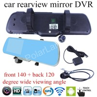 for android WIFI GPS navigation Car DVR mirror camera 5 inch rearview mirror Camera Recorder Rear View dual lens touch screen
