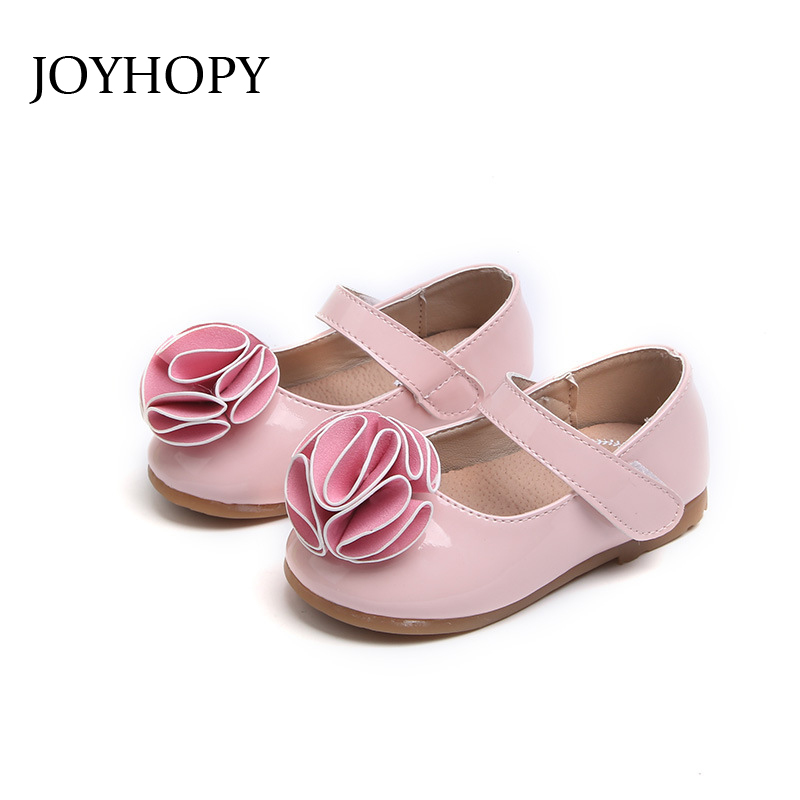 Princess Flowers Spring Autumn Girls Shoes Size 21-30 Children Party Dress Shoes Girls Cute Sweet PU Leather Flat Shoes