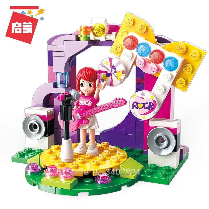 ENLIGHTEN 4Pcs/lot Friends City Girls Ice Cream Car Stall Stage Building Blocks Sets Bricks Educational Toys for Girls-in Blocks from Toys & Hobbies    2