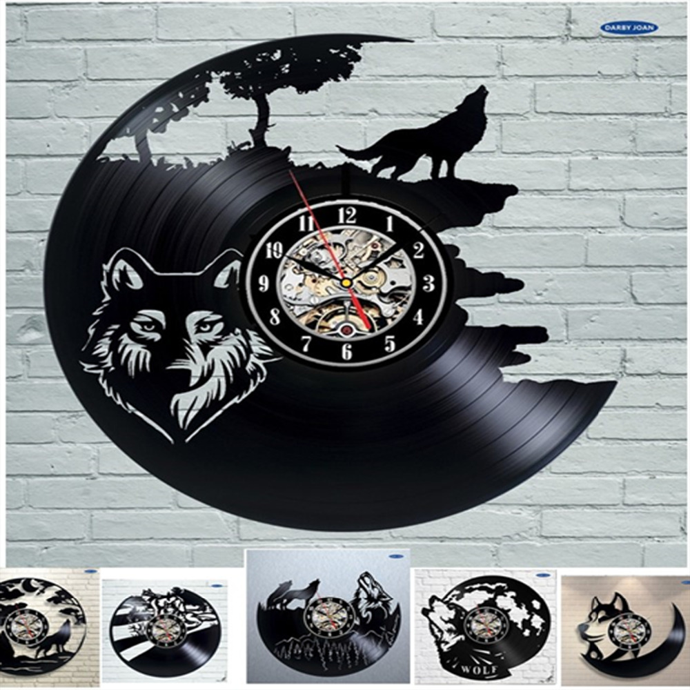 Buy wolf pictures vinyl record wall clock for Vinyl records decorations for wall
