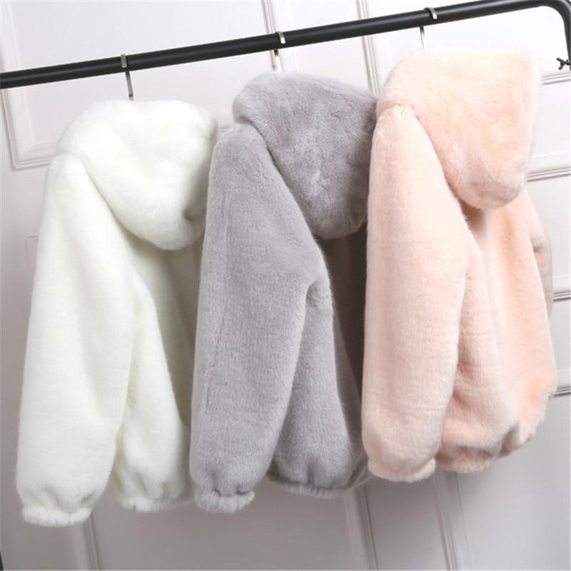 Lovepeapomelo/2019 новое пальто из искусственного меха с капюшоном, высокая талия, Модная тонкая черная, красная, розовая куртка из искусственного меха, искусственный кроличий мех D390