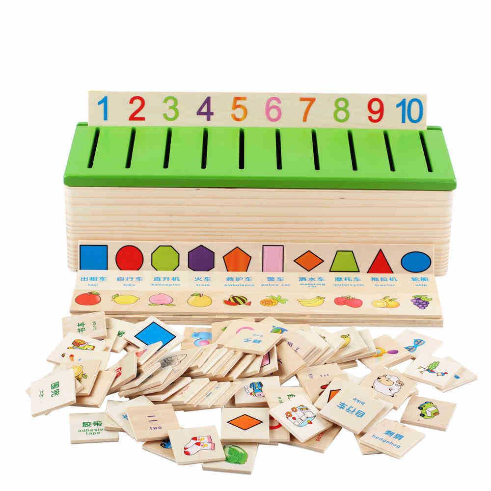 Free Shipping Montessori Matematica Knowledge Classification Box Montessori Materials Learn checkers Toys for Children Wood Box