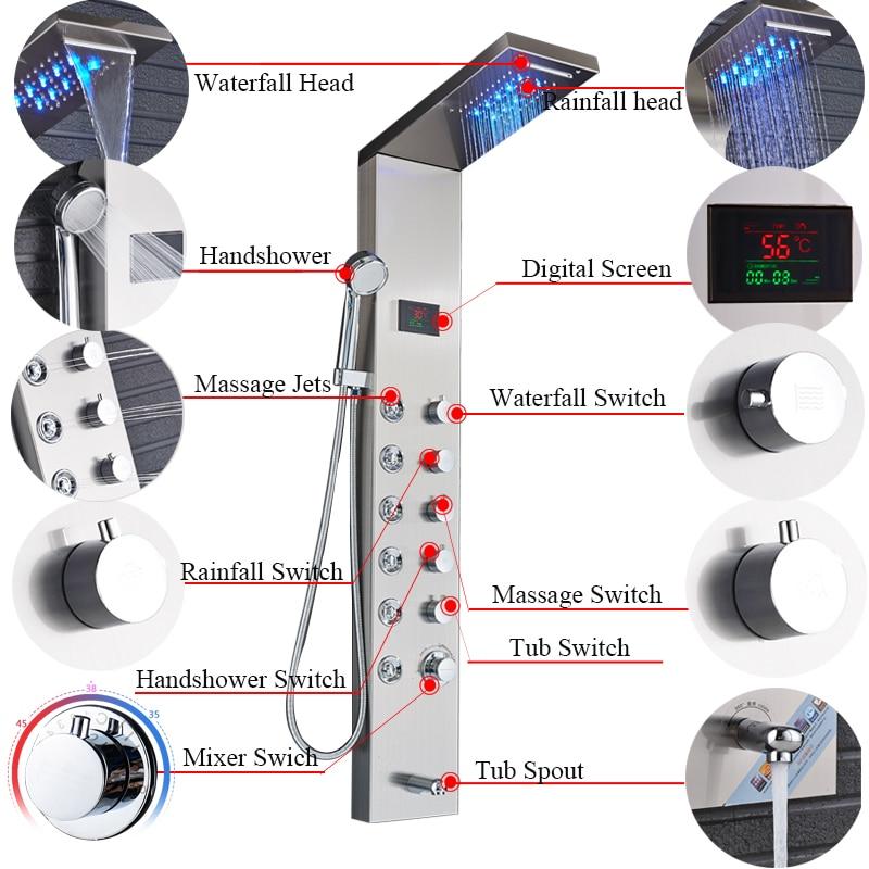 HTB1MXJqajzuK1RjSsppq6xz0XXaB - Newly Luxury Black/Brushed Bathroom Shower Faucet LED Shower Panel Column