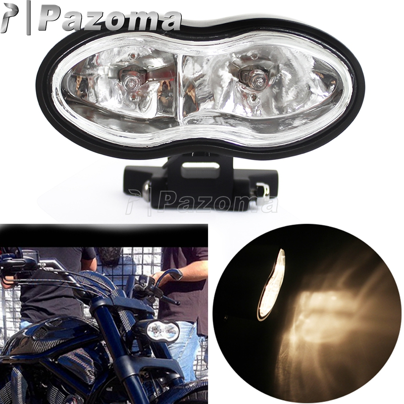 Motorbike Universal Black Twin Headlight Wave Billet Halogen Double Headlamp for Harley Choppers Customs Honda Yamaha Suzuki