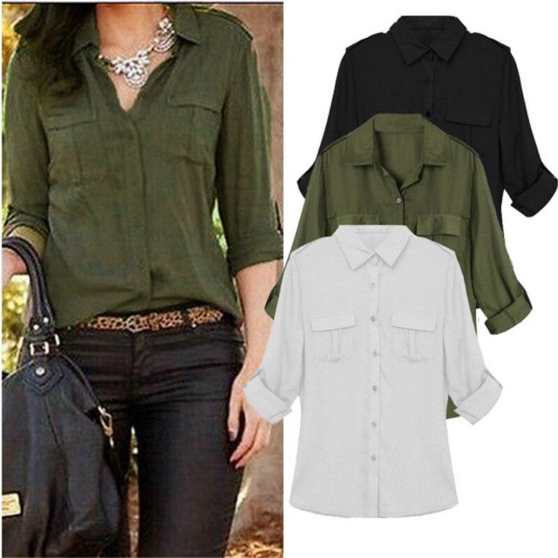 ZANZEA Plus Size Women Chiffon Blouse 2020 Spring Summer Casual Loose Long Sleeve Tops Pockets Shirts S-3XL Blusas Femininas