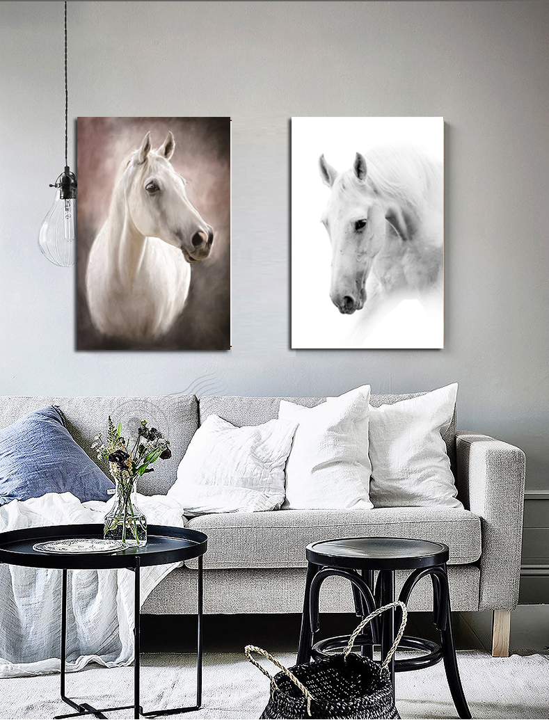 Black-and-White-Horse-head-Painting-Print-On-Canvas-Animal-Artwork-Pictures-wall-art-for-home