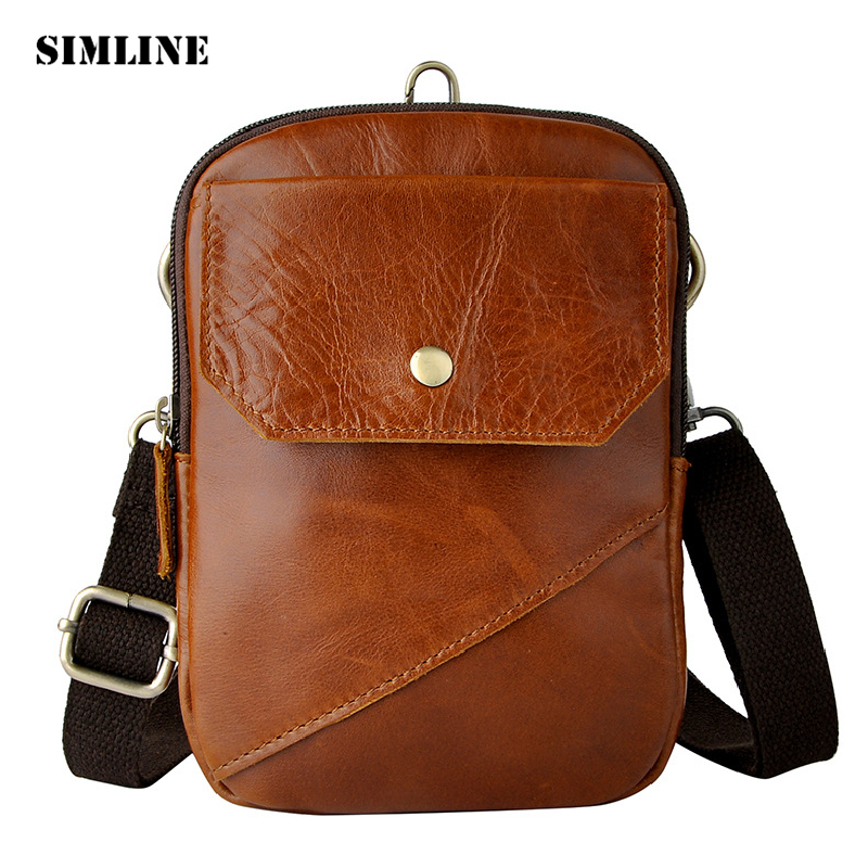 SIMLINE Vintage Casual 100% Genuine Leather Cowhide Men Belt Waist Bag Pack Packs Small Shoulder Messenger Crossbody Bags Pouch vintage bags real genuine leather cowhide men waist pack pouch for men leather waist bag outdoor travle belt wallets vp j7144