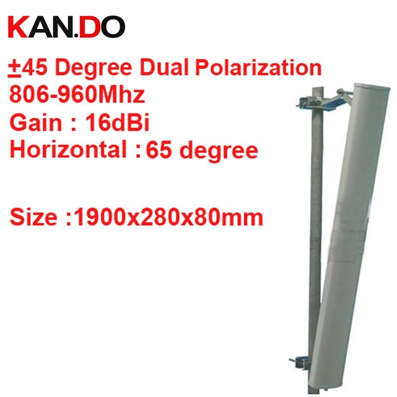 1.9 M long 16dbi + 45 &-45 degrés double polarisation 65 degrés 806-960 Mhz GSM antenne Base station CDMA GSM antenne FDD LTE