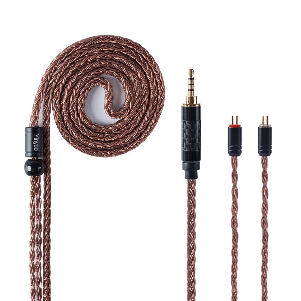 Câble équilibré en cuivre monocristallin Yinyoo 16 Core Import 2.5/3.5mm/4.4m avec connecteur MMCX/2pin pour ZS10 AS10 AS16 LZ A6