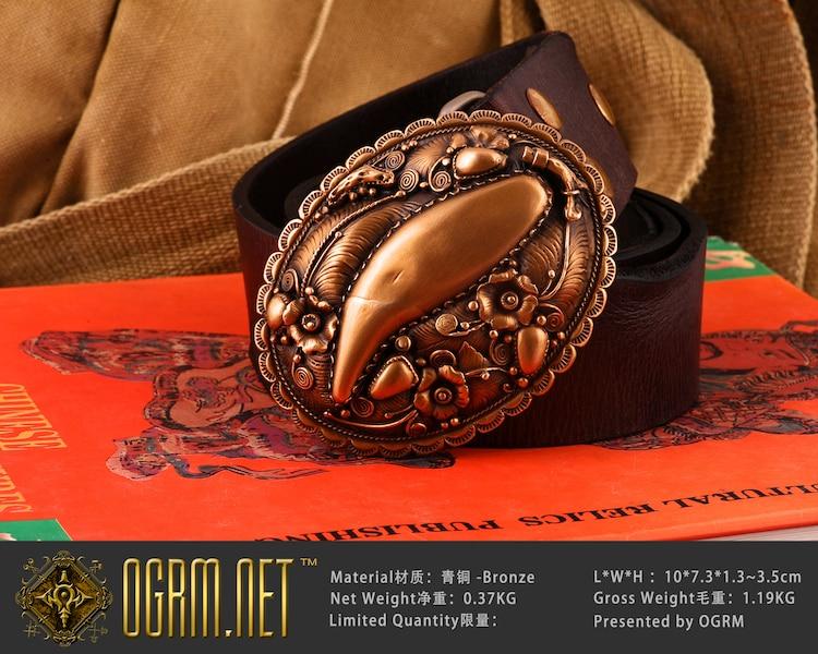 OGRM fait à la main en Bronze ours dent motif hommes boucles de ceinture en cuir de vachette véritable ceinture Cinto Cowboy marque ceintures hommes