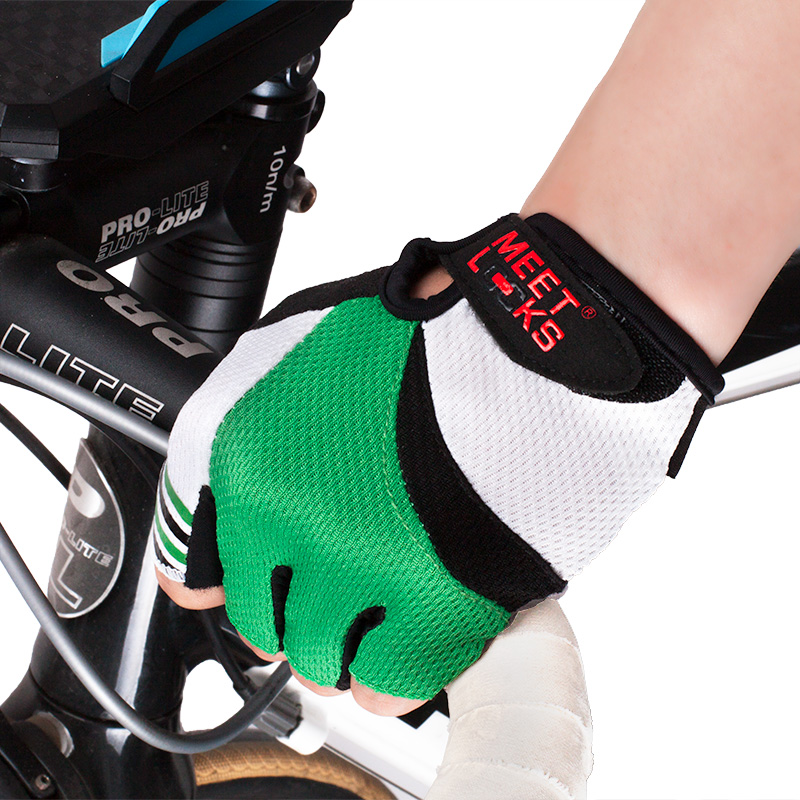 MEETLOCKS Bike Gloves For Women Waterproof Breathable Cycling Gloves Half Finger Sports Gloves Colors Red&Green Size M-L