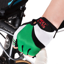 MEETLOCKS Mountain Bike Gloves Road Cycling Half Finger Biking Sports For Man Colors Red&Green Size M-L